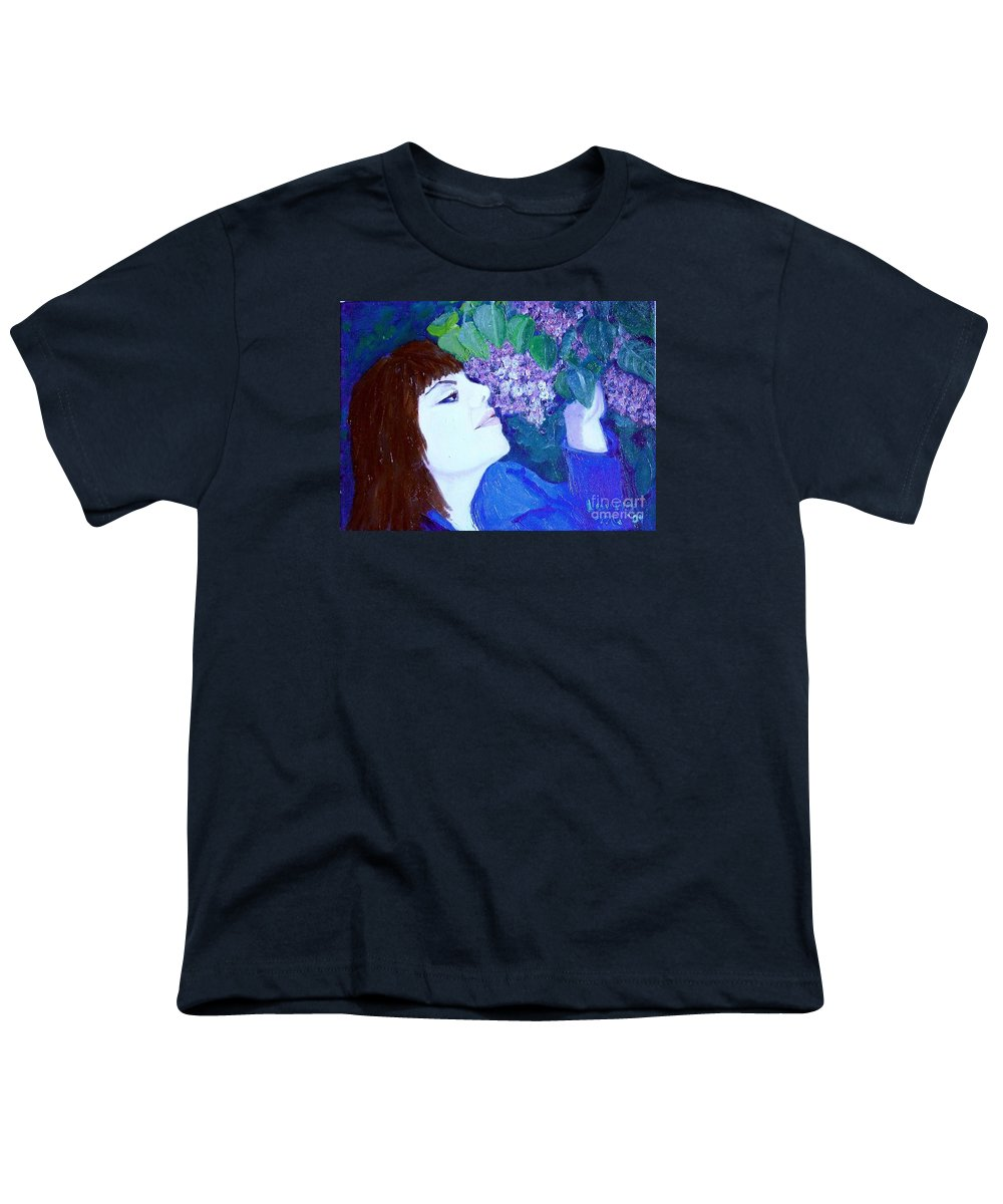 Lilacs Youth T-Shirt featuring the painting Lush Lilacs by Laurie Morgan