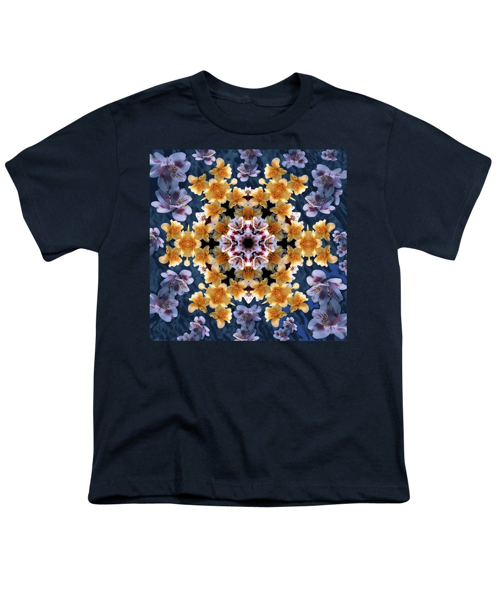 Mandala Youth T-Shirt featuring the digital art Mandala Alstro by Nancy Griswold