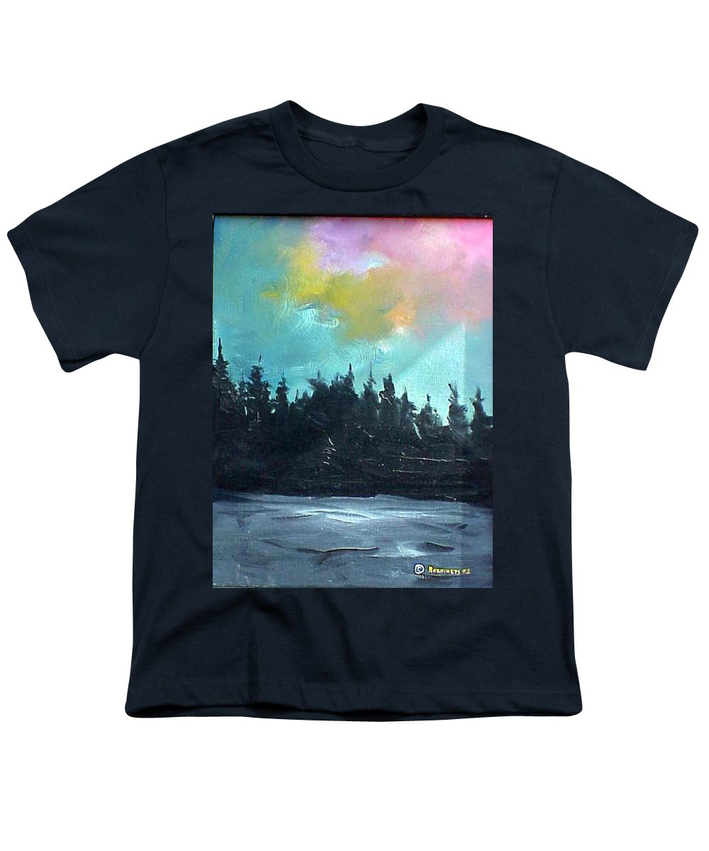 Landscape Youth T-Shirt featuring the painting Night River by Sergey Bezhinets