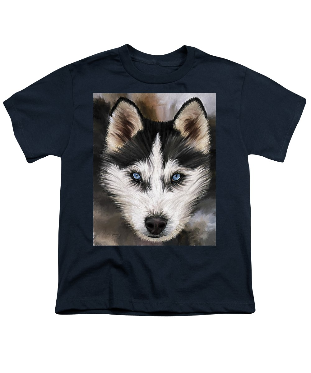 Dog Art Youth T-Shirt featuring the painting Nikki by David Wagner