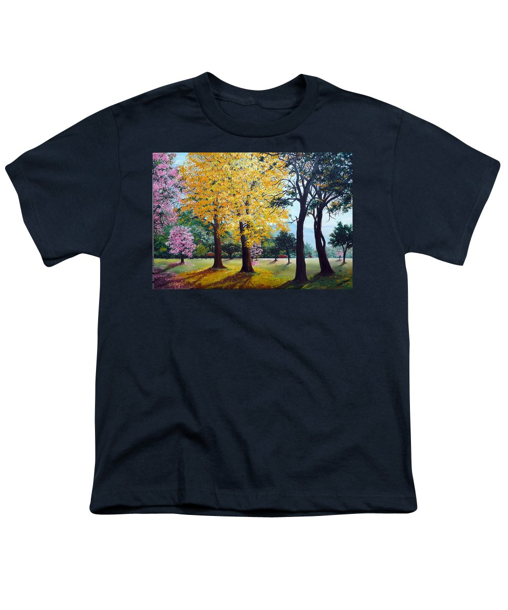 Tree Painting Landscape Painting Caribbean Painting Poui Tree Yellow Blossoms Trinidad Queens Park Savannah Port Of Spain Trinidad And Tobago Painting Savannah Tropical Painting Youth T-Shirt featuring the painting Poui Trees In The Savannah by Karin Dawn Kelshall- Best