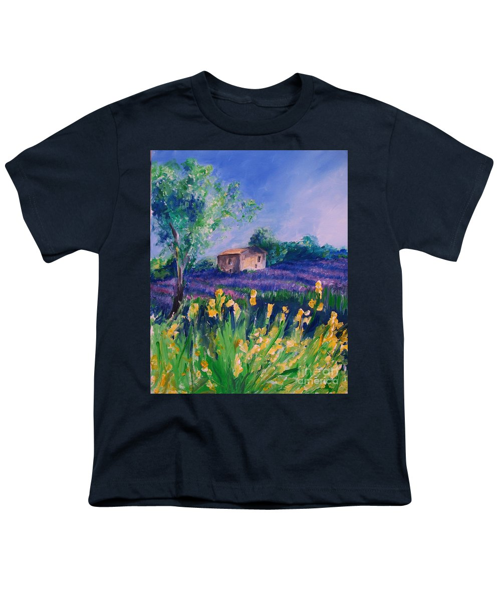 Floral Youth T-Shirt featuring the digital art Provence Yellow Flowers by Eric Schiabor