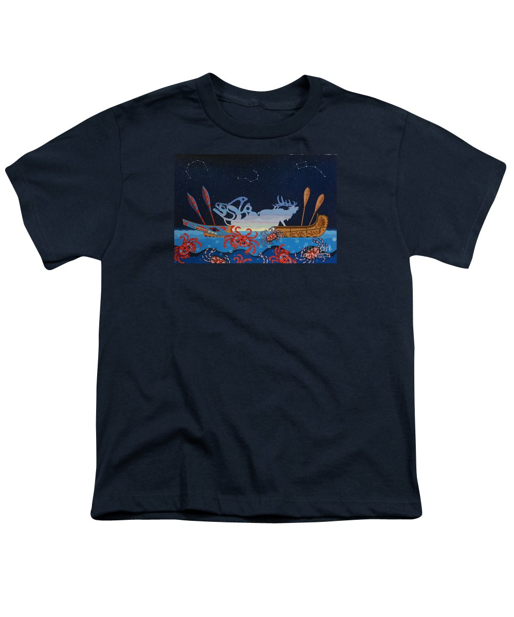 America Youth T-Shirt featuring the painting Pull Together by Chholing Taha