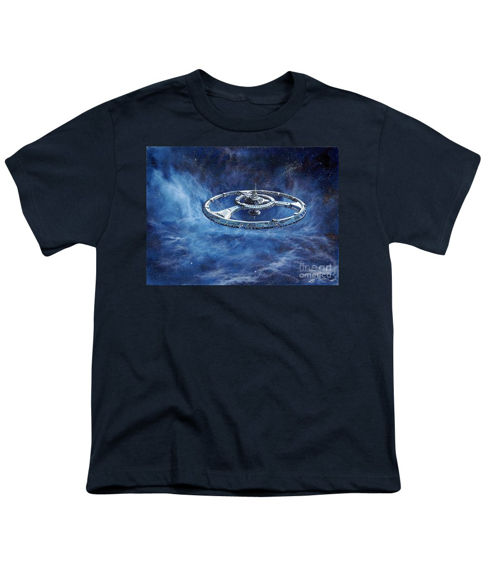 Sci-fi Youth T-Shirt featuring the painting Deep Space Eight Station Of The Future by Murphy Elliott
