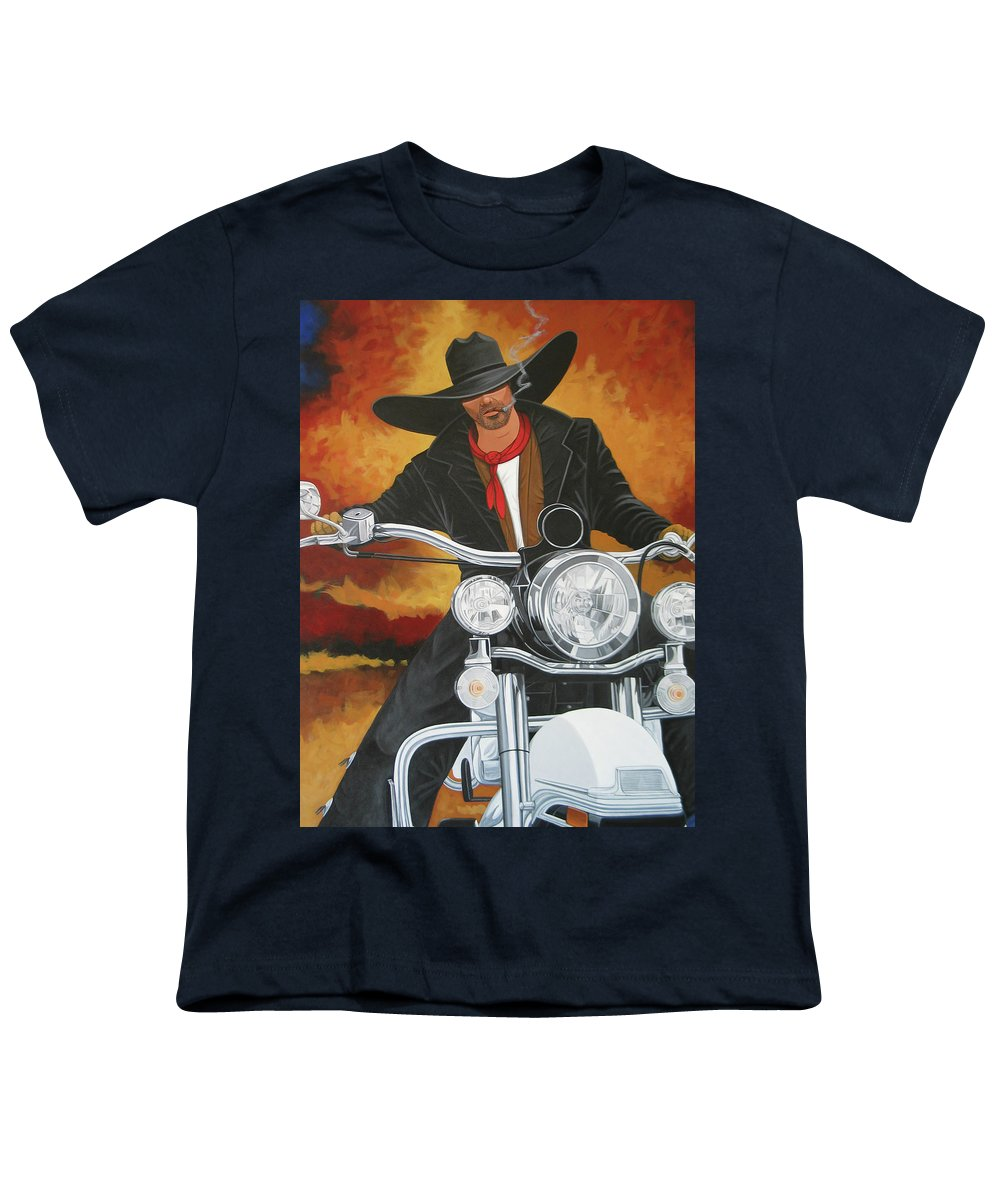 Cowboy On Motorcycle Youth T-Shirt featuring the painting Steel Pony by Lance Headlee