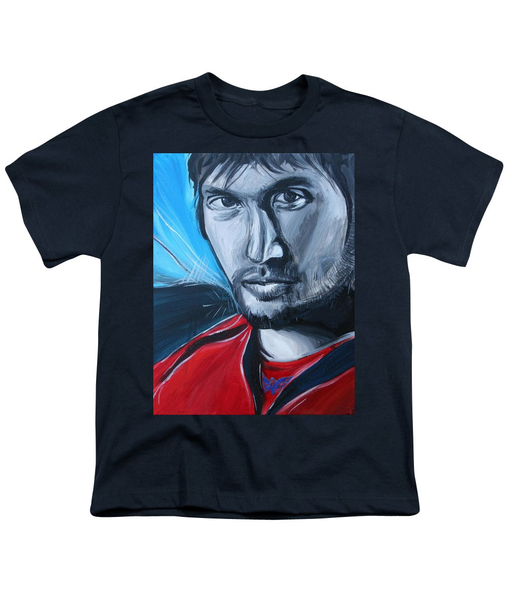 Alex Ovechkin Youth T-Shirt featuring the painting Ovechkin by Kate Fortin