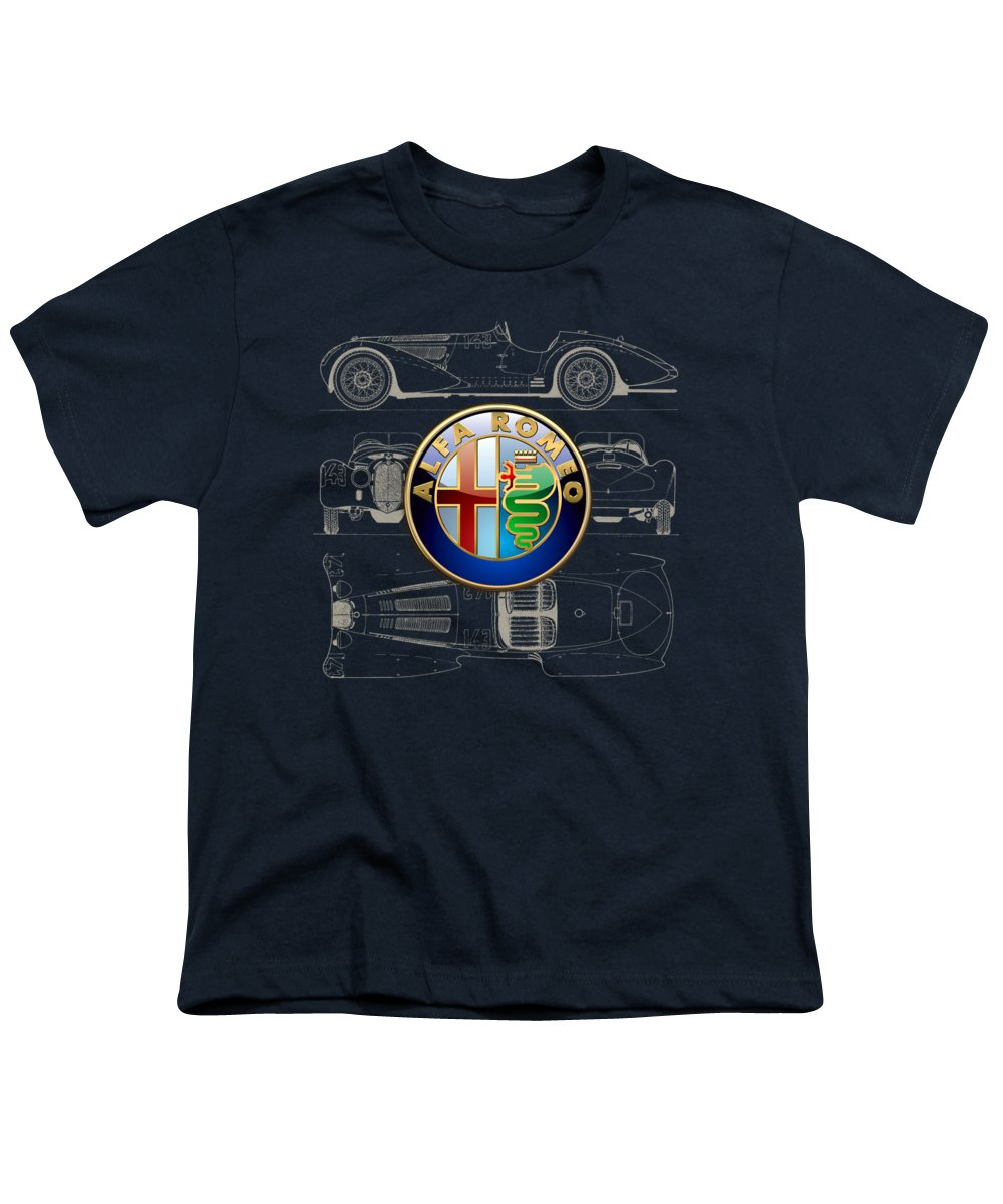 �wheels Of Fortune� By Serge Averbukh Youth T-Shirt featuring the photograph Alfa Romeo 3 D Badge over 1938 Alfa Romeo 8 C 2900 B Vintage Blueprint by Serge Averbukh