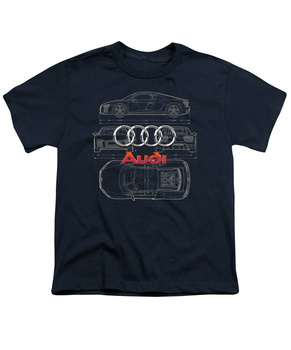 �wheels Of Fortune� Collection By Serge Averbukh Youth T-Shirt featuring the photograph Audi 3 D Badge Over 2016 Audi R 8 Blueprint by Serge Averbukh