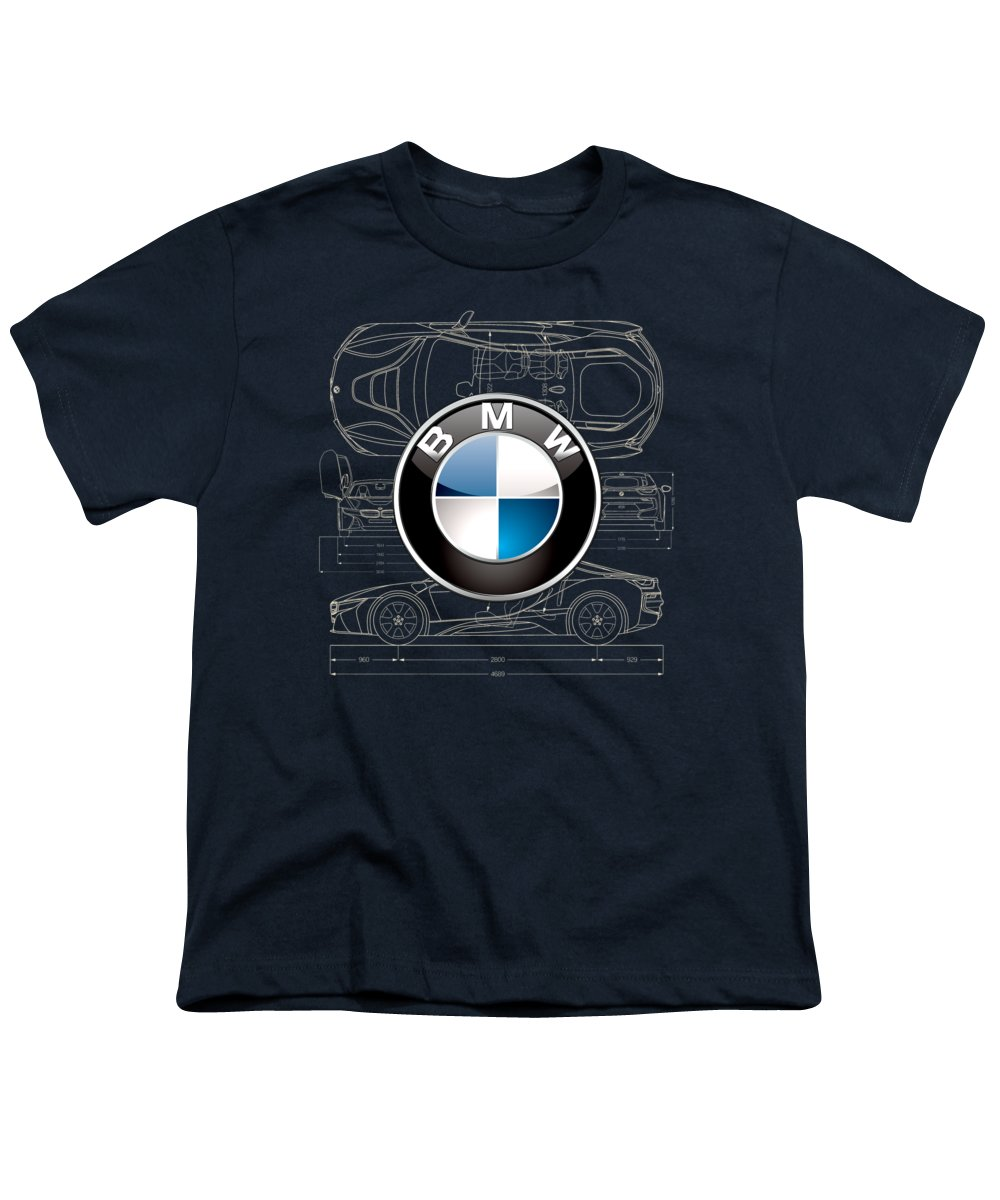 �wheels Of Fortune� By Serge Averbukh Youth T-Shirt featuring the photograph B M W 3 D Badge Over B M W I8 Blueprint by Serge Averbukh