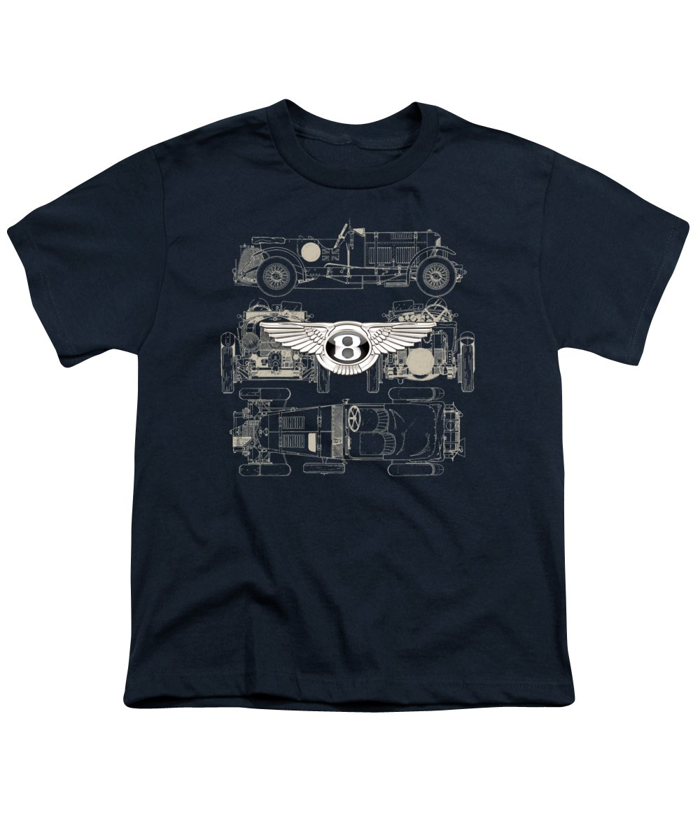 �wheels Of Fortune� By Serge Averbukh Youth T-Shirt featuring the photograph Bentley - 3 D Badge Over 1930 Bentley 4.5 Liter Blower Vintage Blueprint by Serge Averbukh