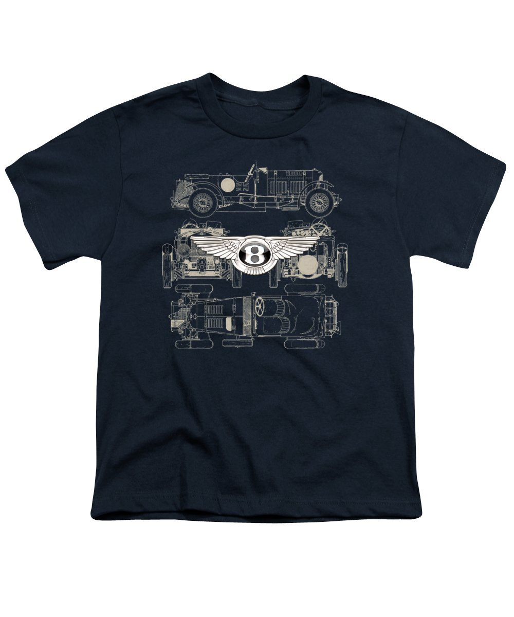 �wheels Of Fortune� By Serge Averbukh Youth T-Shirt featuring the photograph Bentley - 3 D Badge Over 1930 Bentley 4.5 Liter Blower Vintage Blueprint 1 by Serge Averbukh