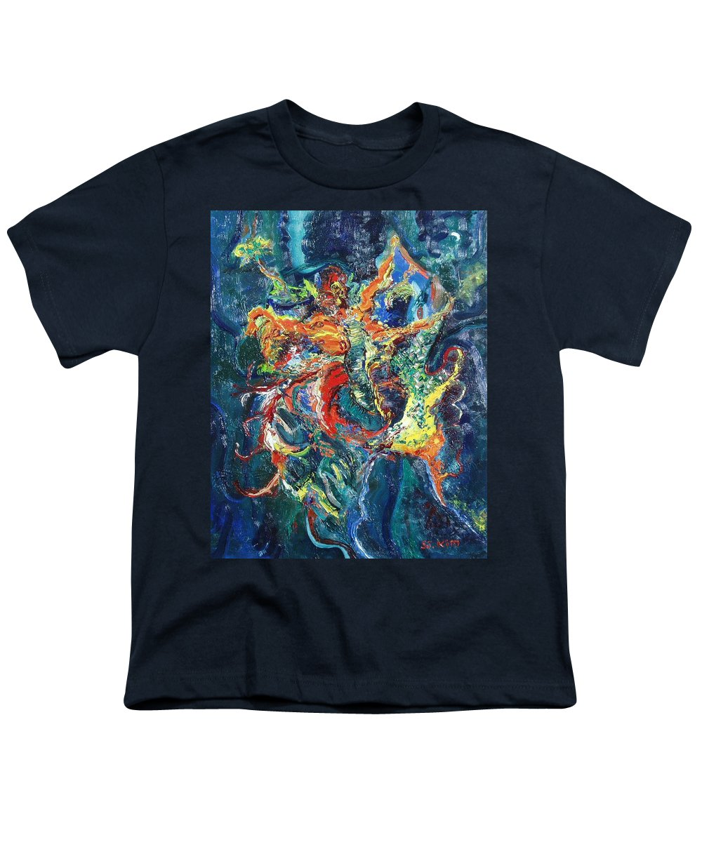 Butterfly Paintings Youth T-Shirt featuring the painting Dancing Butterflies by Seon-Jeong Kim