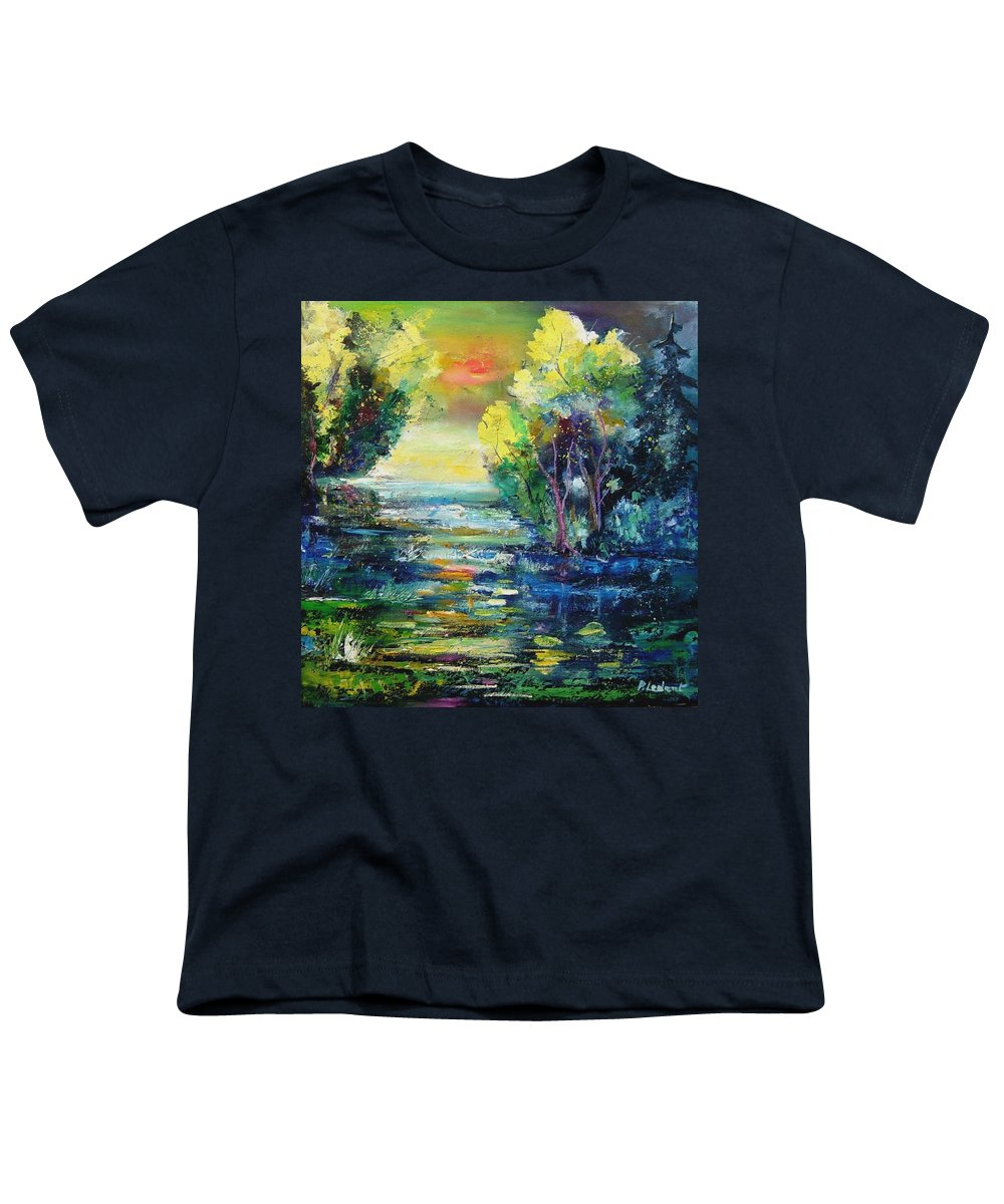 Pond Youth T-Shirt featuring the painting Magic Pond by Pol Ledent