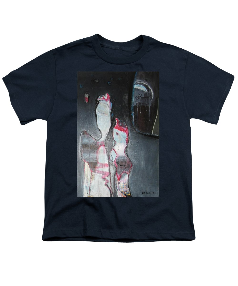 Abstract Paintings Youth T-Shirt featuring the painting A Flase Rumor by Seon-Jeong Kim