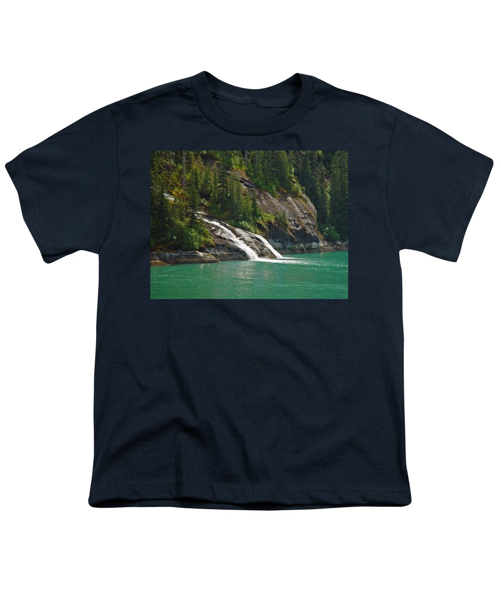 Waterfall Youth T-Shirt featuring the photograph Alaska Tracy Arm by Heather Coen