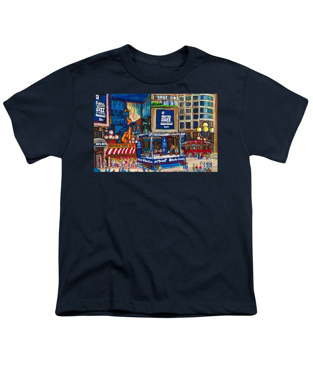Montreal Youth T-Shirt featuring the painting All That Jazz by Carole Spandau