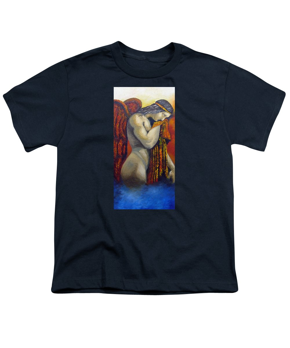 Angel Youth T-Shirt featuring the painting Angel Of Love by Elizabeth Lisy Figueroa