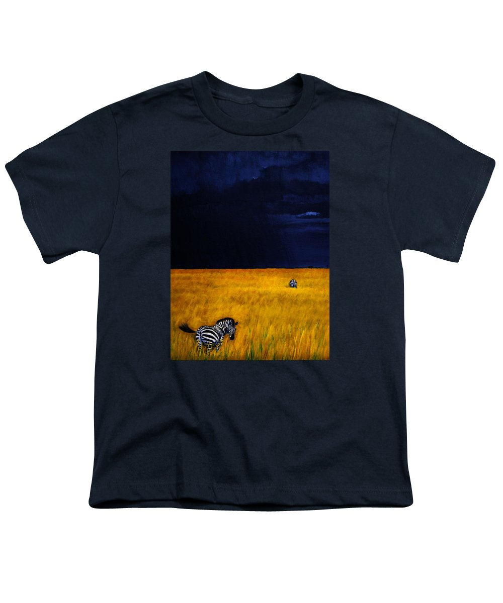 African Landscape Zebra Storm Clouds Edith Peterson Watson Scenery Nature Animals Wildlife Youth T-Shirt featuring the painting Approaching Storm by Edith Peterson-Watson