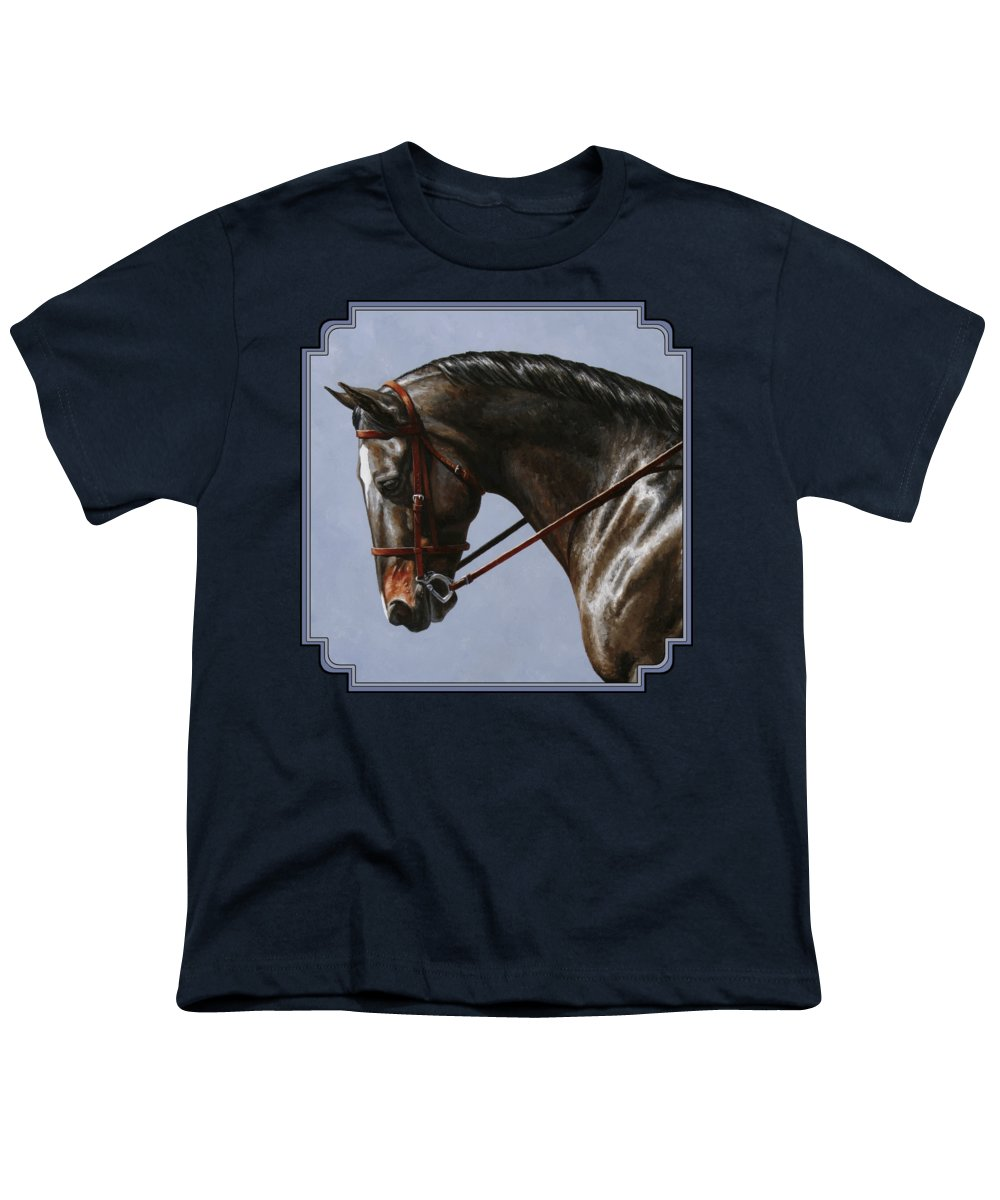 Horse Youth T-Shirt featuring the painting Horse Painting - Discipline by Crista Forest
