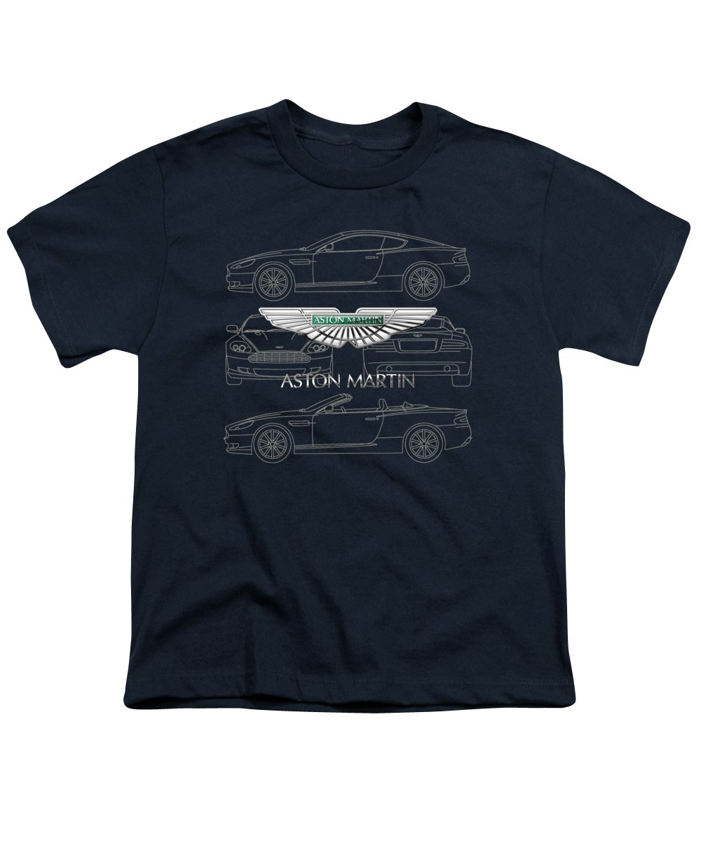 Wheels Of Fortune By Serge Averbukh Youth T-Shirt featuring the photograph Aston Martin 3 D Badge Over Aston Martin D B 9 Blueprint by Serge Averbukh