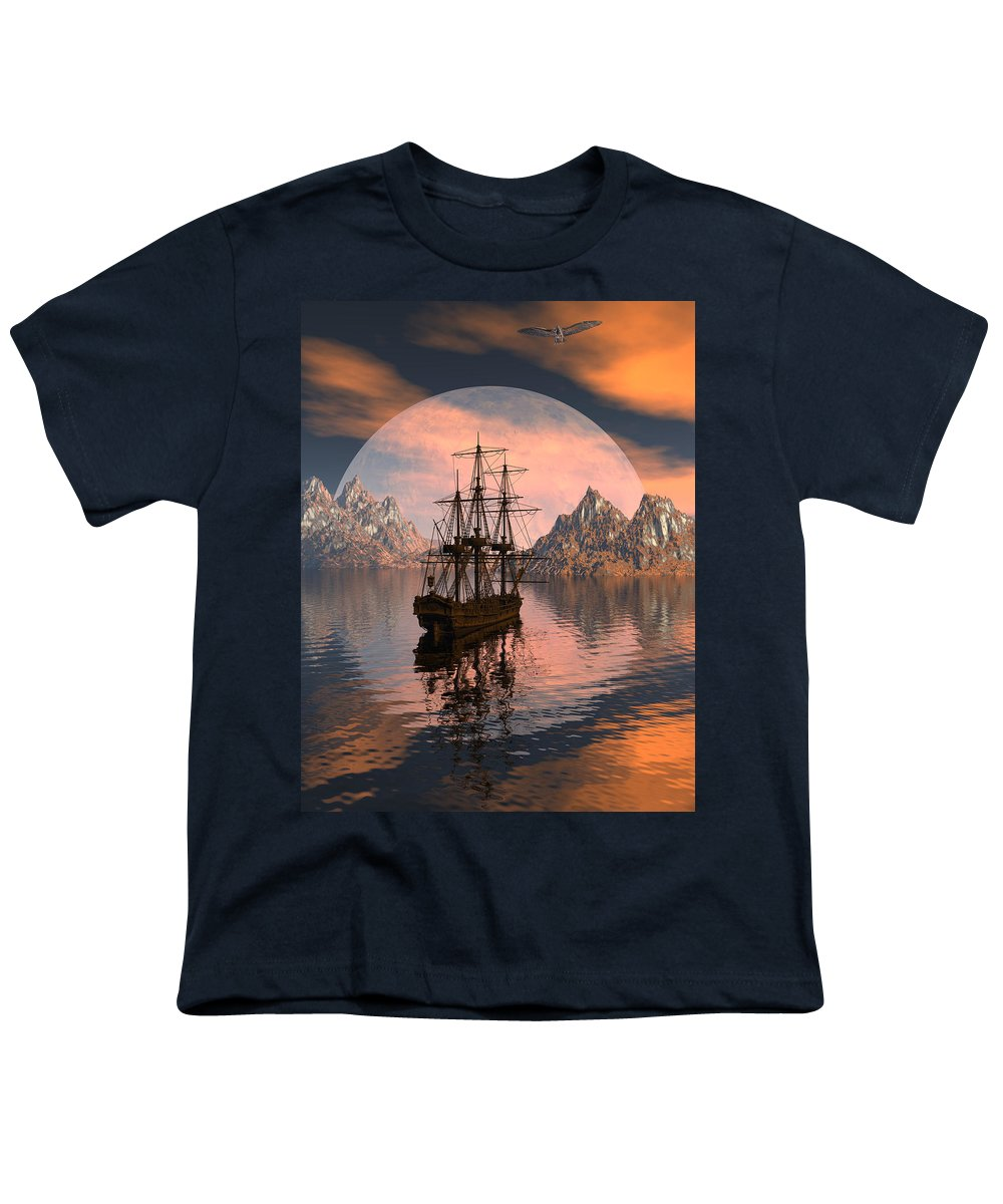 Bryce 3d Digital Fantasy Scifi Windjammer Sailing Youth T-Shirt featuring the digital art At Anchor by Claude McCoy