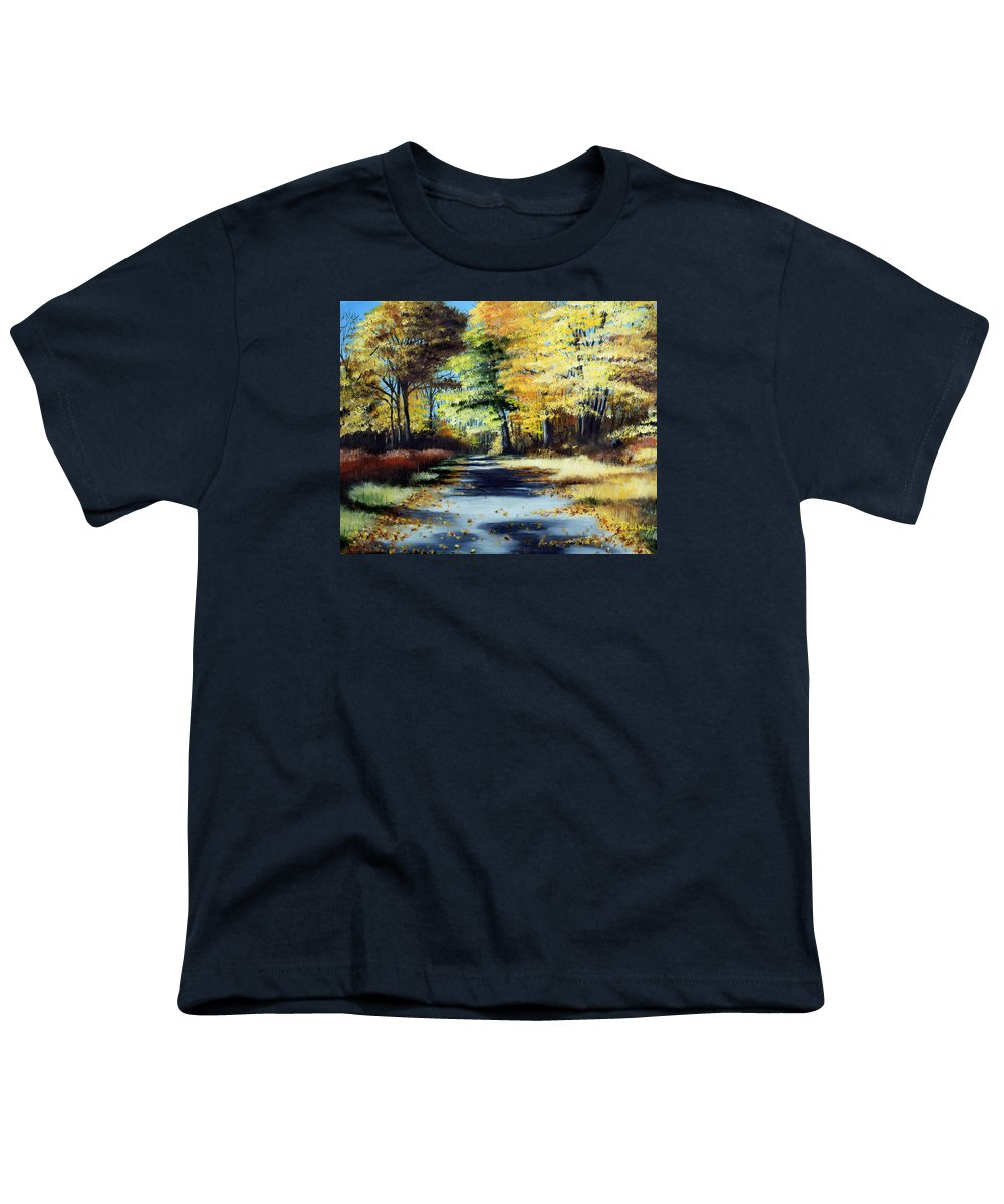 Landscape Youth T-Shirt featuring the painting Autumn Colors by Paul Walsh