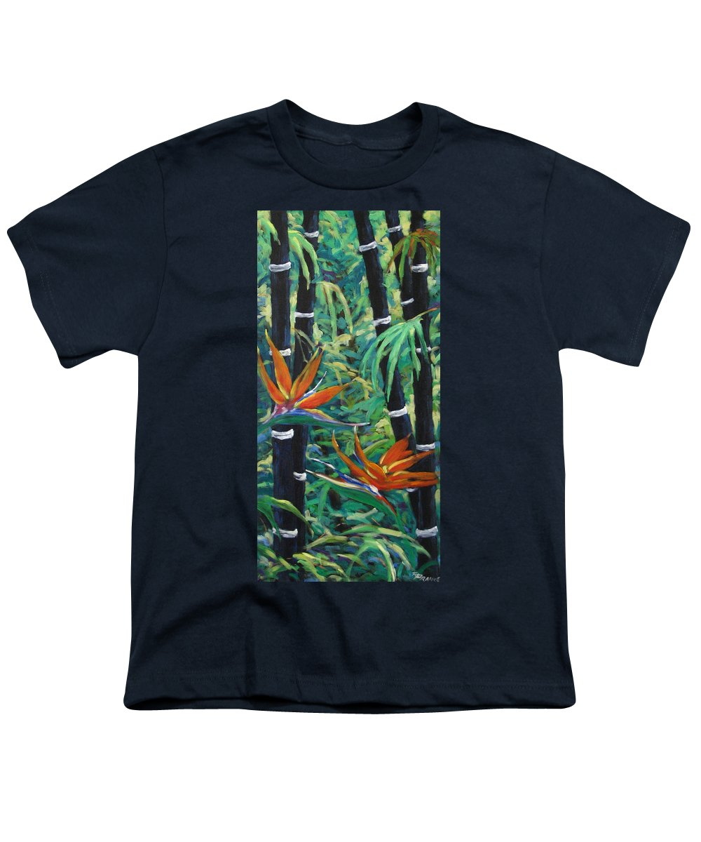 Bamboo Youth T-Shirt featuring the painting Bamboo And Birds Of Paradise by Richard T Pranke