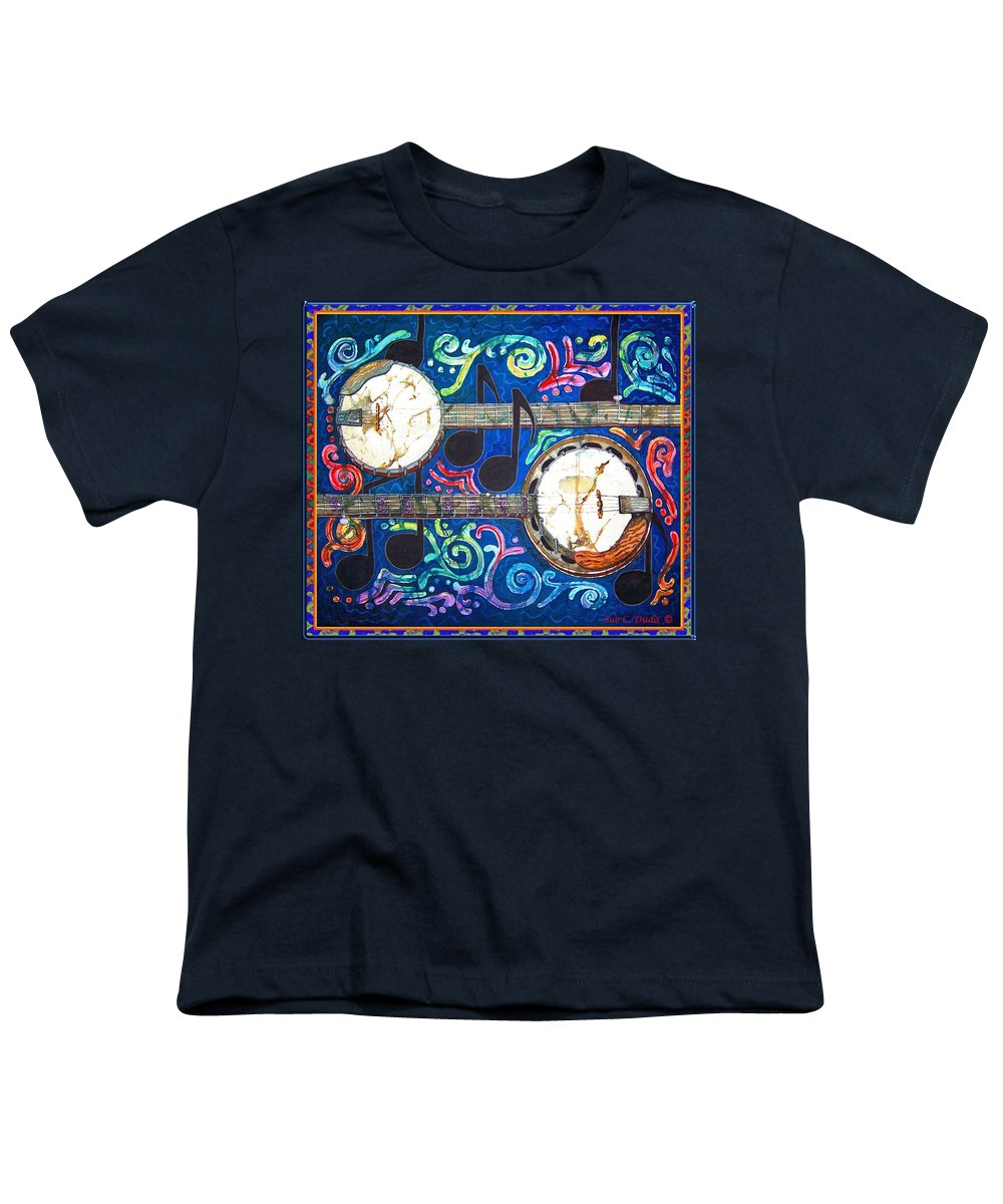 Banjo Youth T-Shirt featuring the painting Banjos - Bordered by Sue Duda