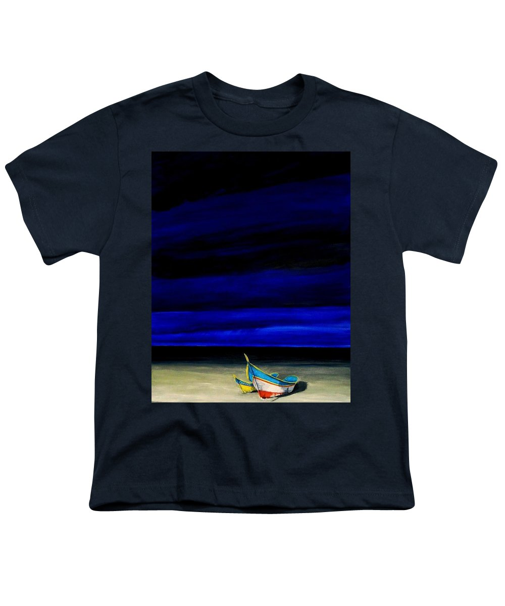 Landscape Painting Youth T-Shirt featuring the painting Beached by Edith Peterson-Watson