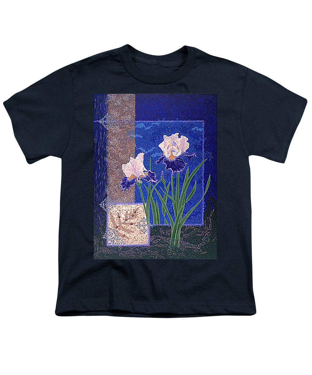 Irises Youth T-Shirt featuring the painting Bearded Irises Fine Art Print Giclee Ladybug Path by Baslee Troutman