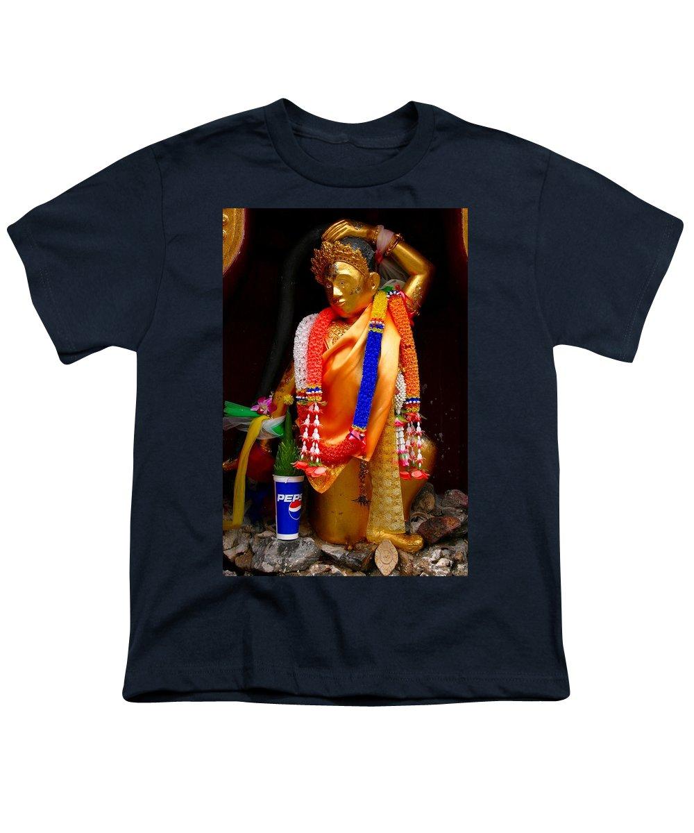 Buddism Youth T-Shirt featuring the photograph Buddism And Pepsi Shrine by Minaz Jantz