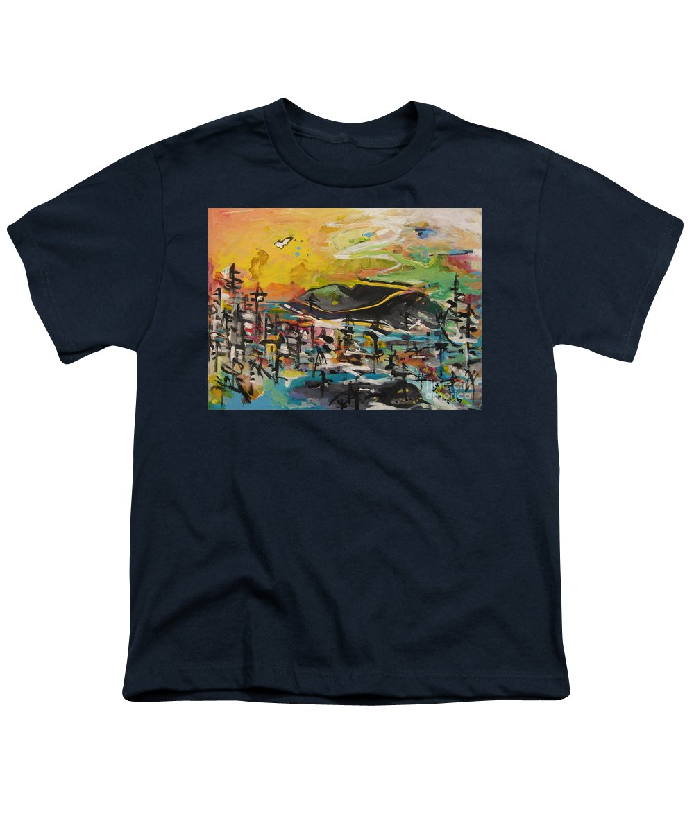 Abstract Paintings Youth T-Shirt featuring the painting Bummer Flat2 by Seon-Jeong Kim