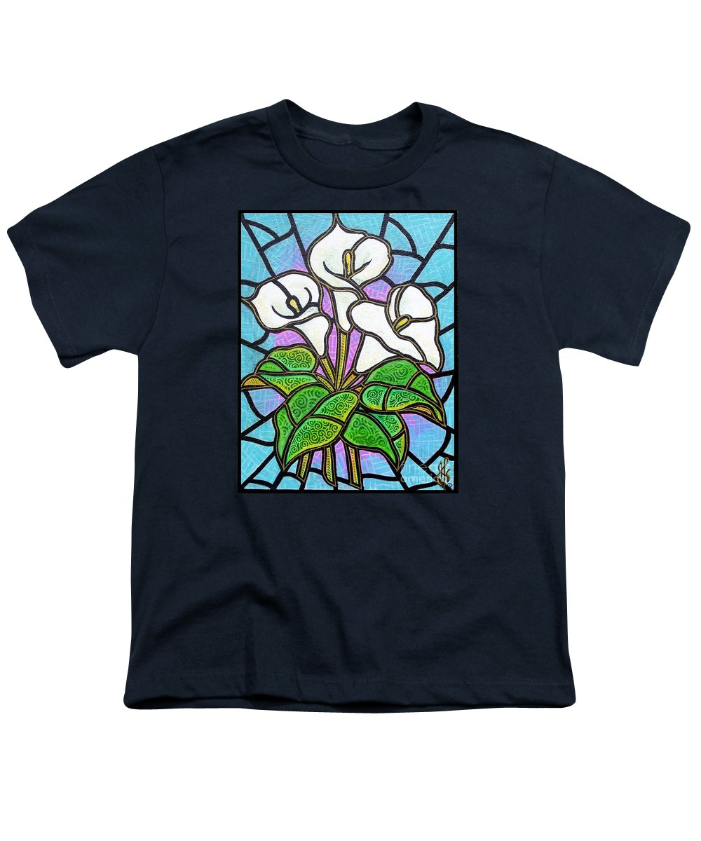 Flowers Youth T-Shirt featuring the painting Calla Lilies 3 by Jim Harris