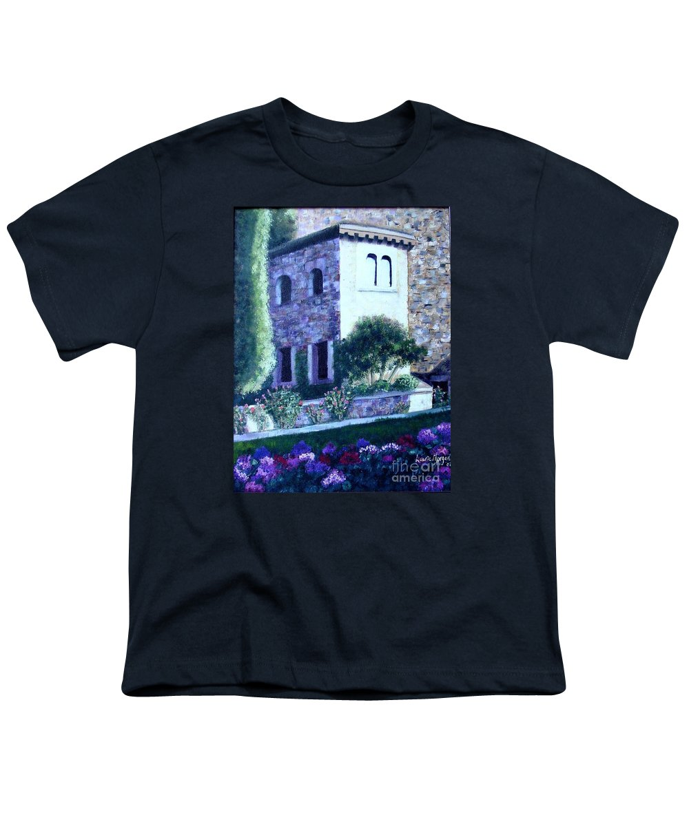 Italy Youth T-Shirt featuring the painting Castle Sestri Levante by Laurie Morgan