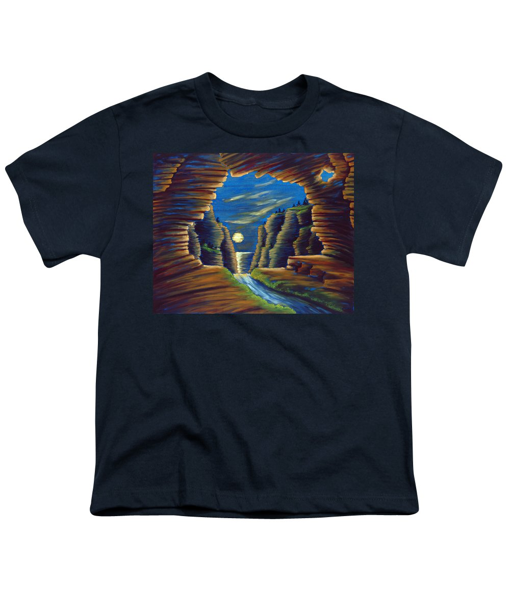 Cave Youth T-Shirt featuring the painting Cave With Cliffs by Jennifer McDuffie