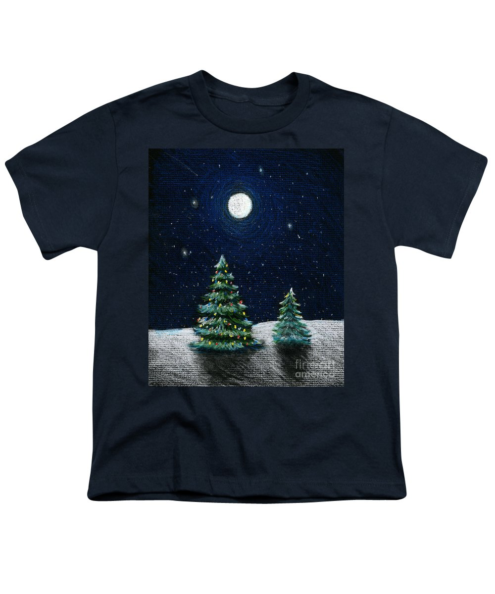 Christmas Trees Youth T-Shirt featuring the drawing Christmas Trees In The Moonlight by Nancy Mueller