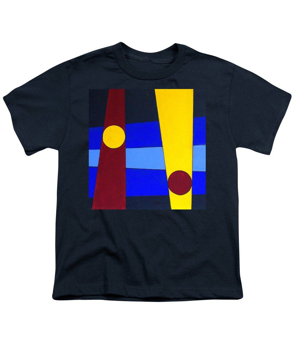 Abstract Youth T-Shirt featuring the painting Circles Lines Color by J R Seymour