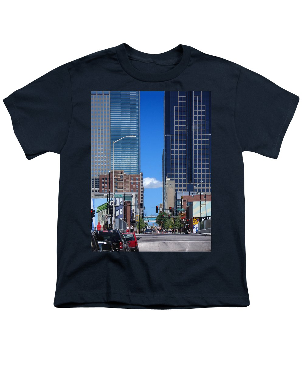 Kansas City Youth T-Shirt featuring the photograph City Street Canyon by Steve Karol