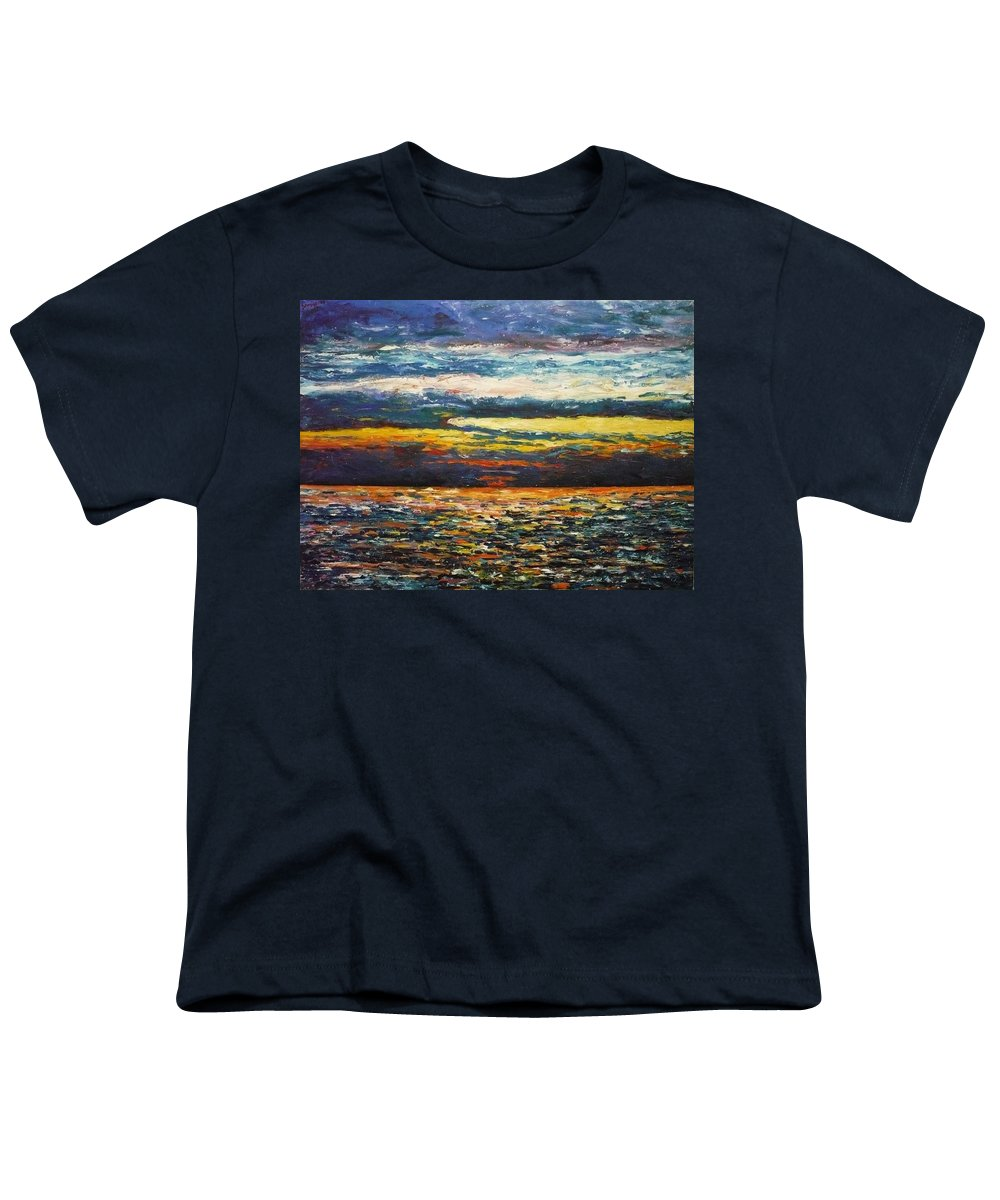 Landscape Youth T-Shirt featuring the painting Cold Sunset by Ericka Herazo
