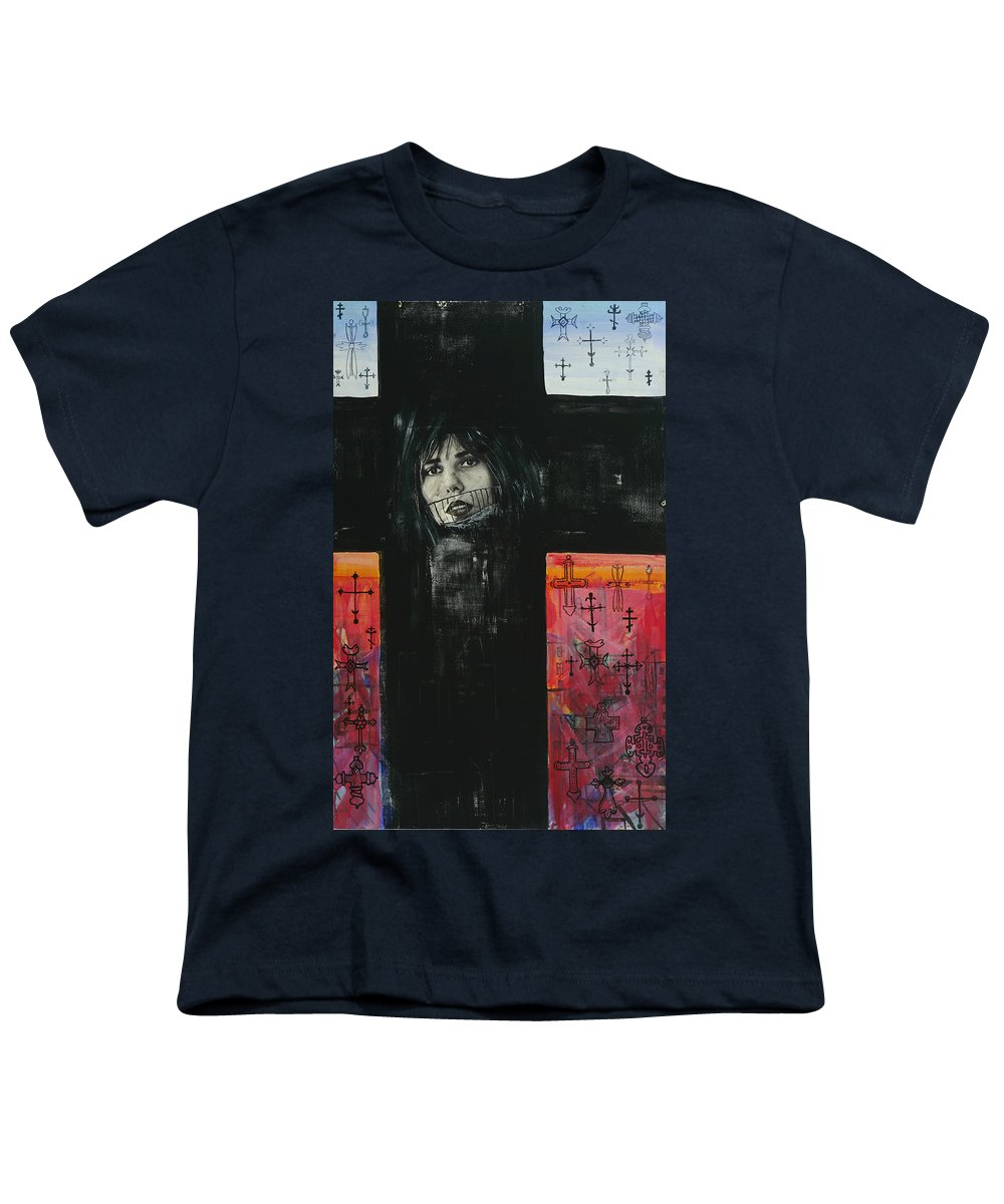 Cross Youth T-Shirt featuring the painting Crossroad by Yelena Tylkina