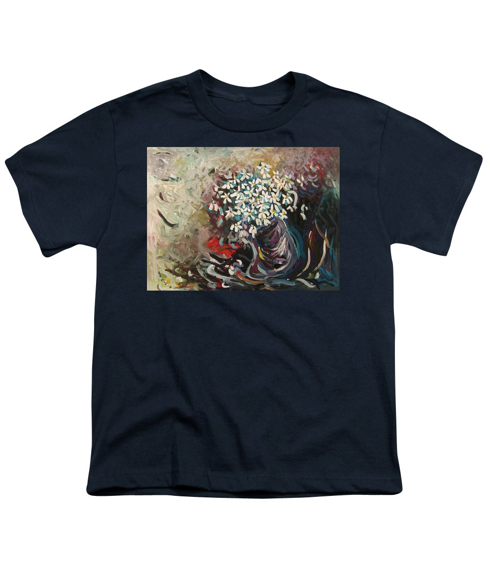 Daisy Paintings Youth T-Shirt featuring the painting Daisy In Vase3 by Seon-Jeong Kim