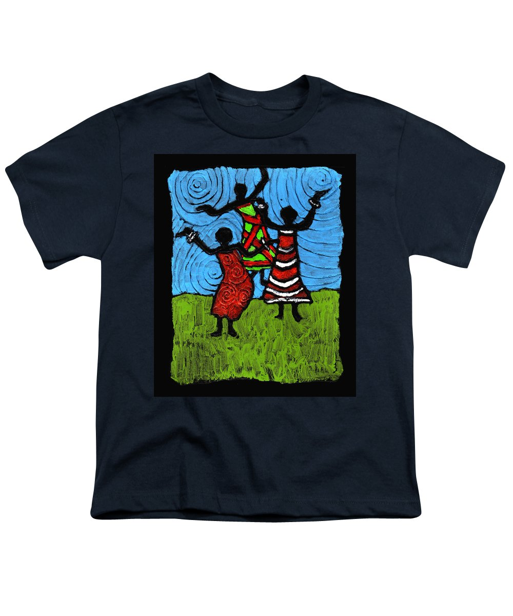 Black Art Youth T-Shirt featuring the painting Dancing So Good I Started To Fly by Wayne Potrafka