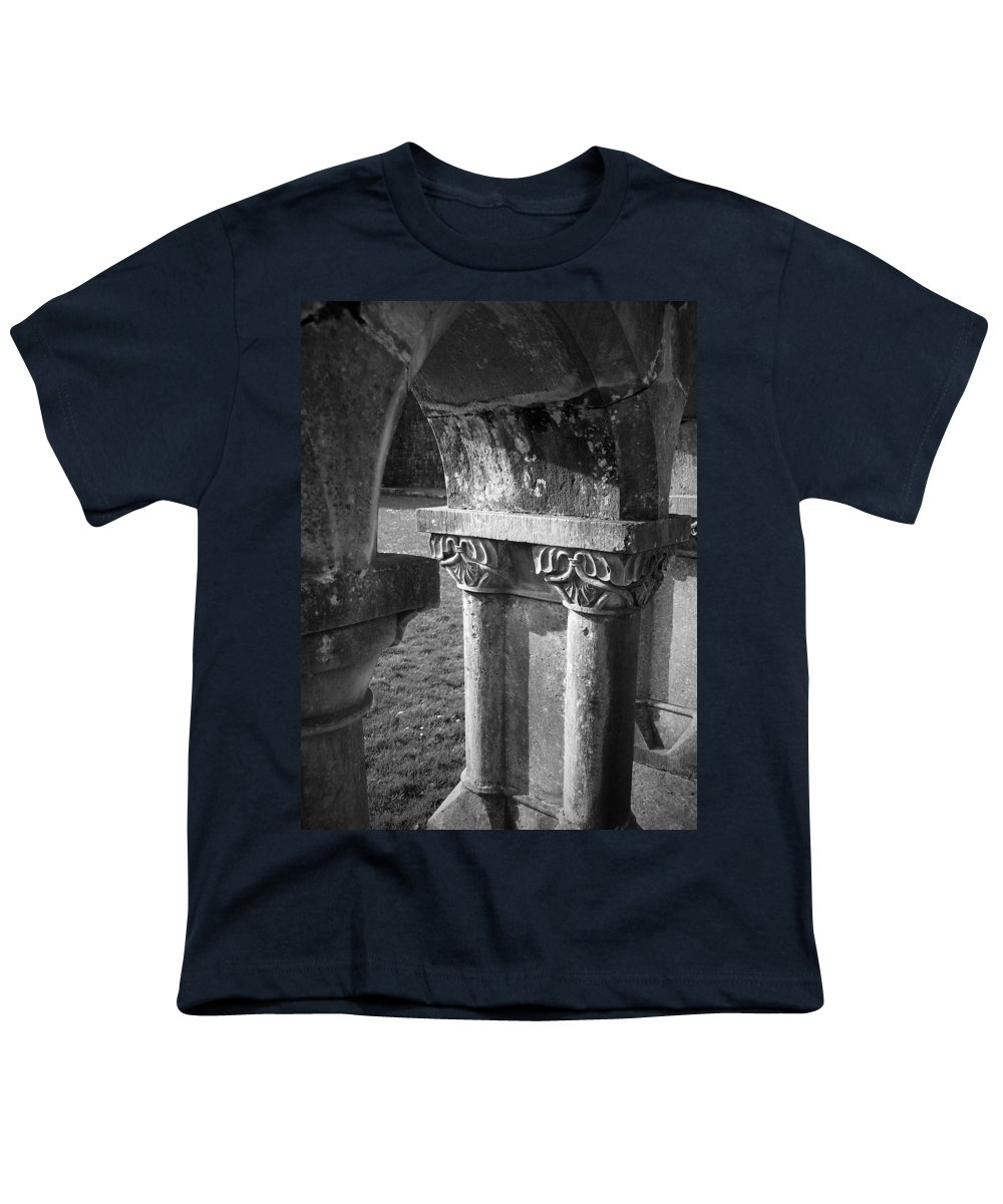 Irish Youth T-Shirt featuring the photograph Detail Of Cloister At Cong Abbey Cong Ireland by Teresa Mucha