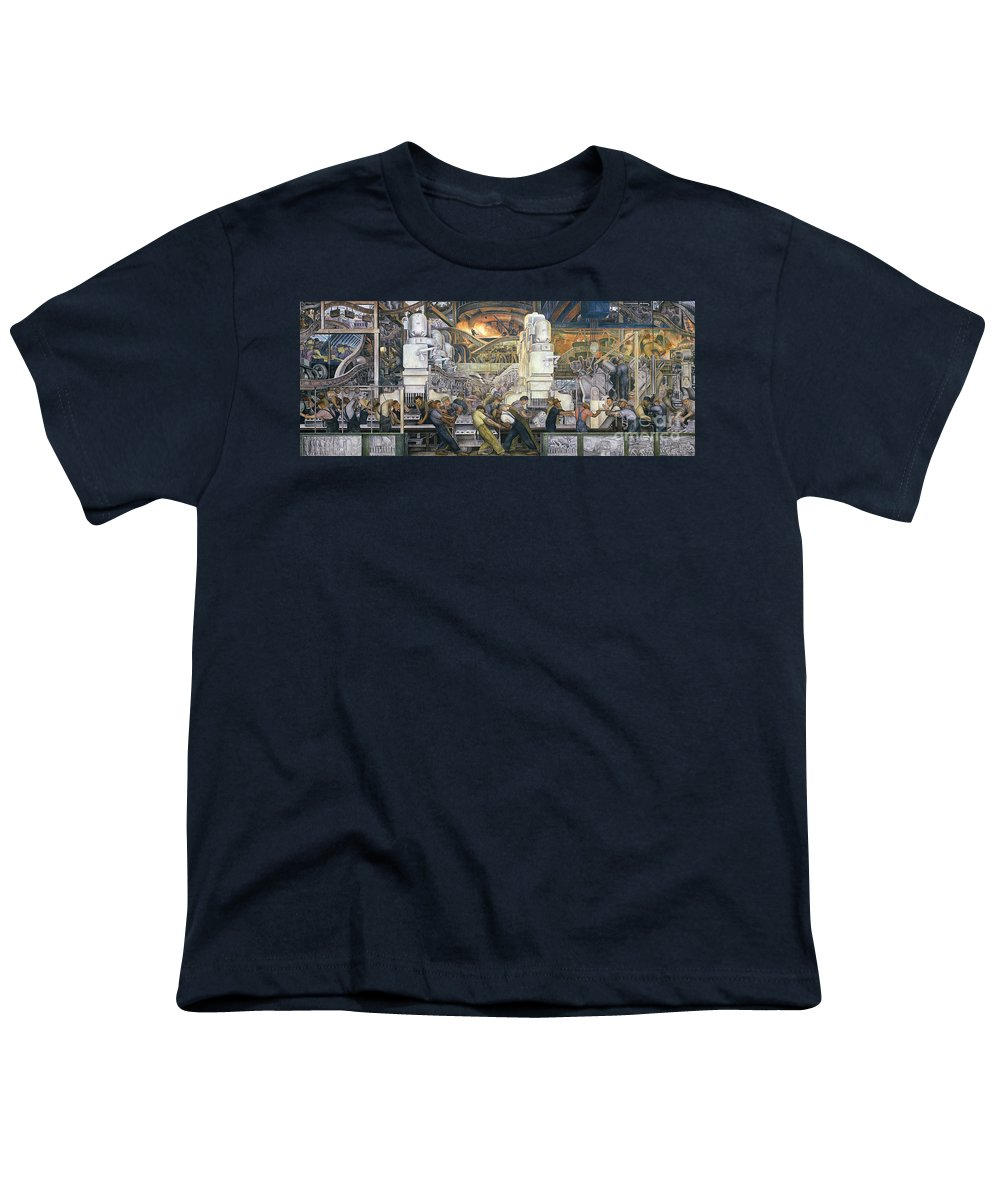 Machinery; Factory; Production Line; Labour; Worker; Male; Industrial Age; Technology; Automobile; Interior; Manufacturing; Work; Detroit Industry Youth T-Shirt featuring the painting Detroit Industry  North Wall by Diego Rivera