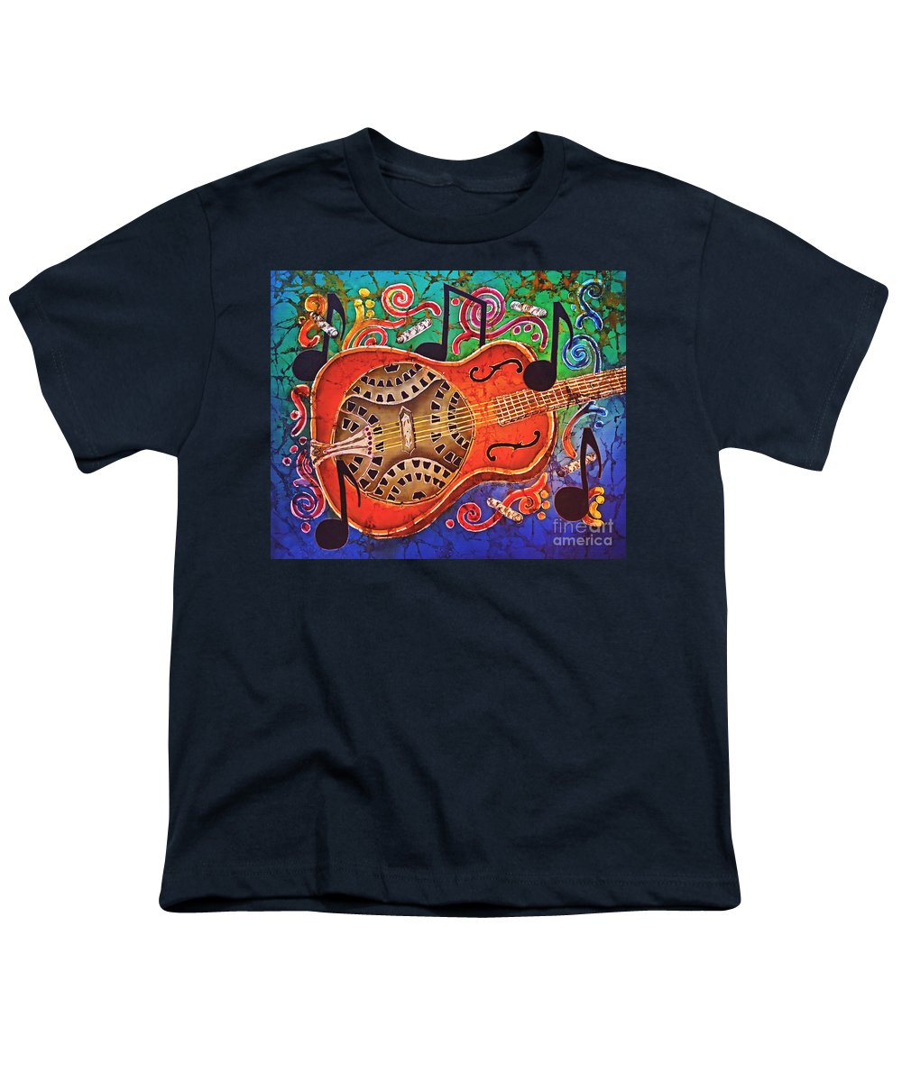 Dobro Youth T-Shirt featuring the tapestry - textile Dobro - Slide Guitar by Sue Duda