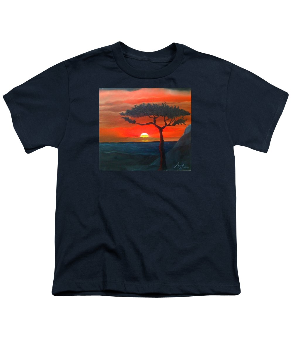 Africa! Youth T-Shirt featuring the painting East African Sunset by Portland Art Creations