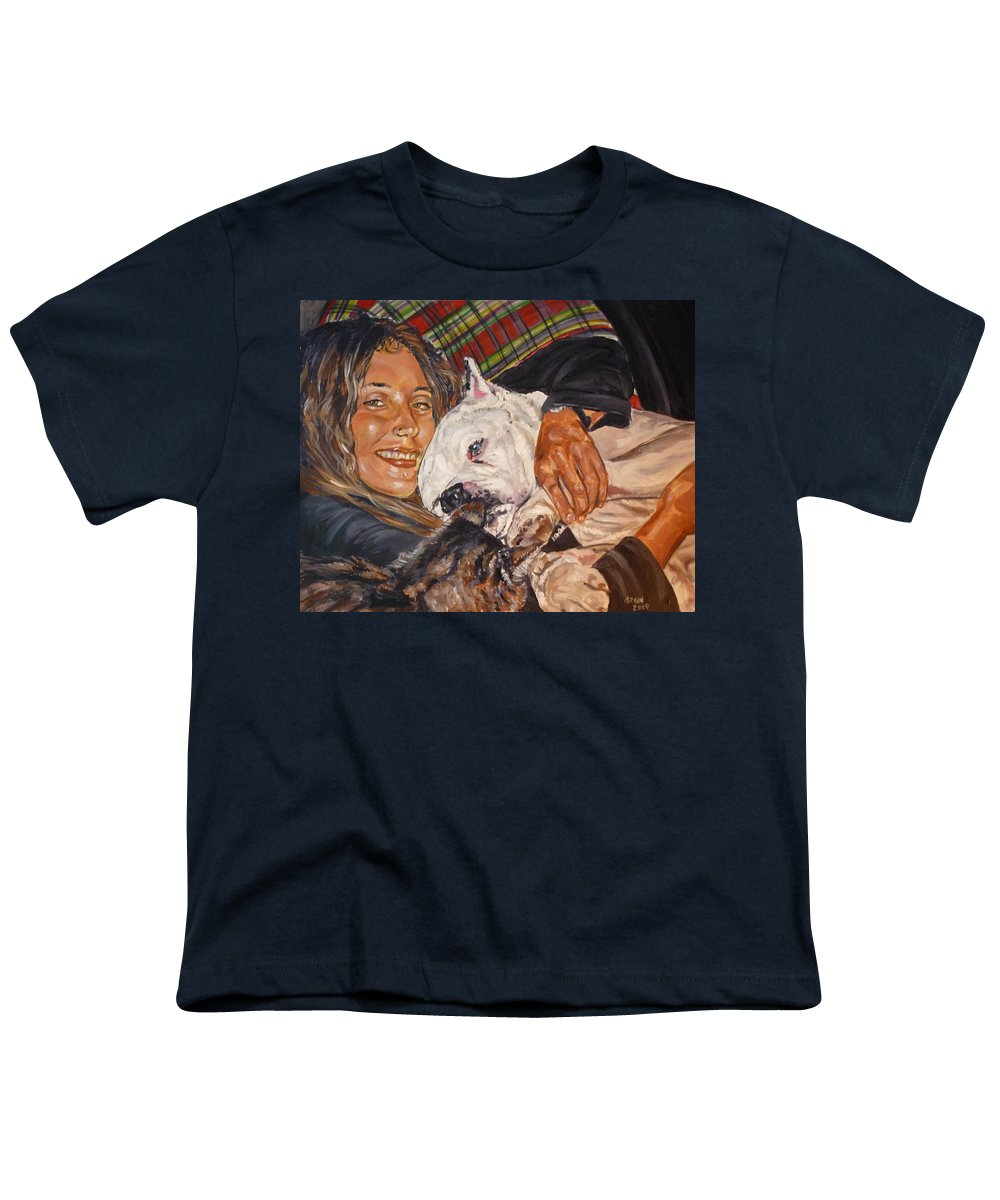 Pet Youth T-Shirt featuring the painting Elvis And Friend by Bryan Bustard