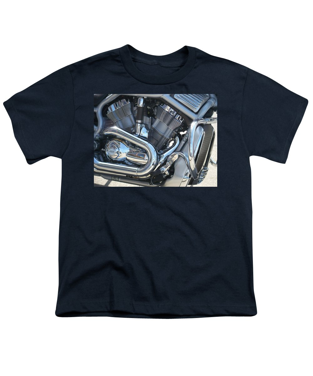 Motorcycle Youth T-Shirt featuring the photograph Engine Close-up 1 by Anita Burgermeister