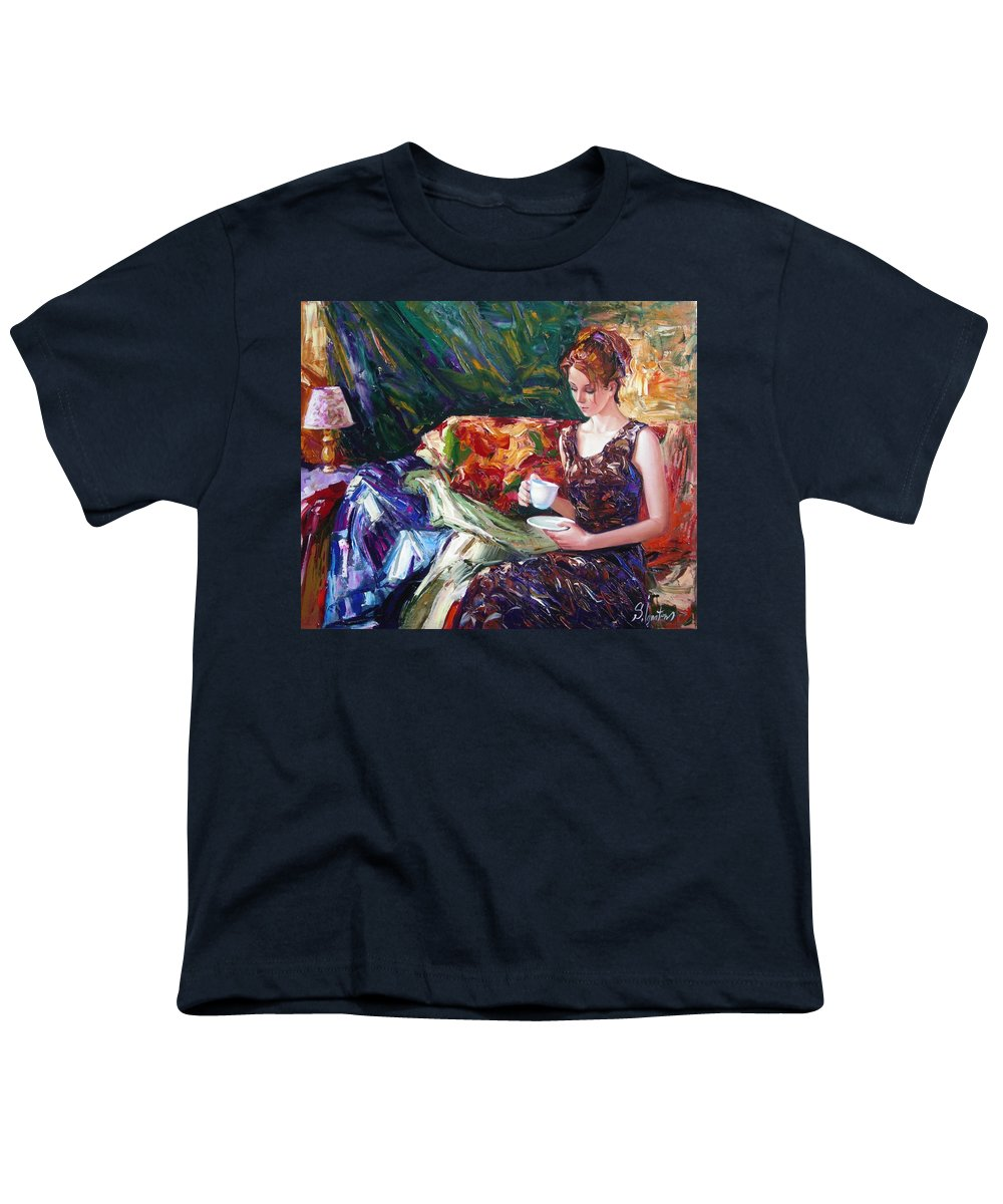 Figurative Youth T-Shirt featuring the painting Evening Coffee by Sergey Ignatenko