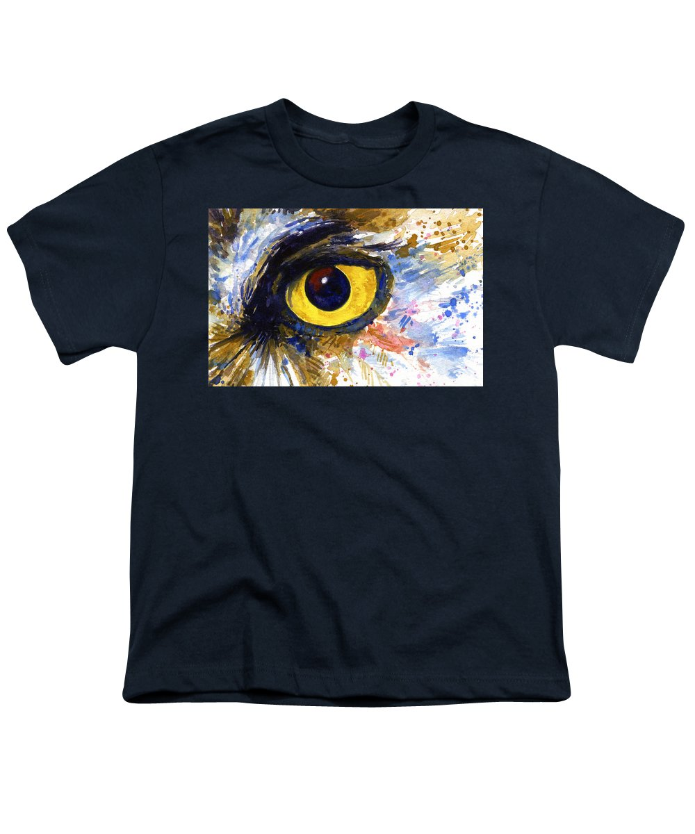 Owls Youth T-Shirt featuring the painting Eyes Of Owl's No.6 by John D Benson